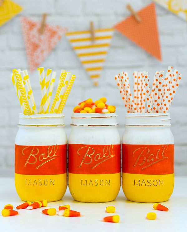 candy corn mason jars for halloween easy halloween craftsdiy - Diy Halloween Decorations For Kids