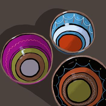 Bowls decorated with wavy lines, still life, Digital art, iPad Painting. Kathy Lewis