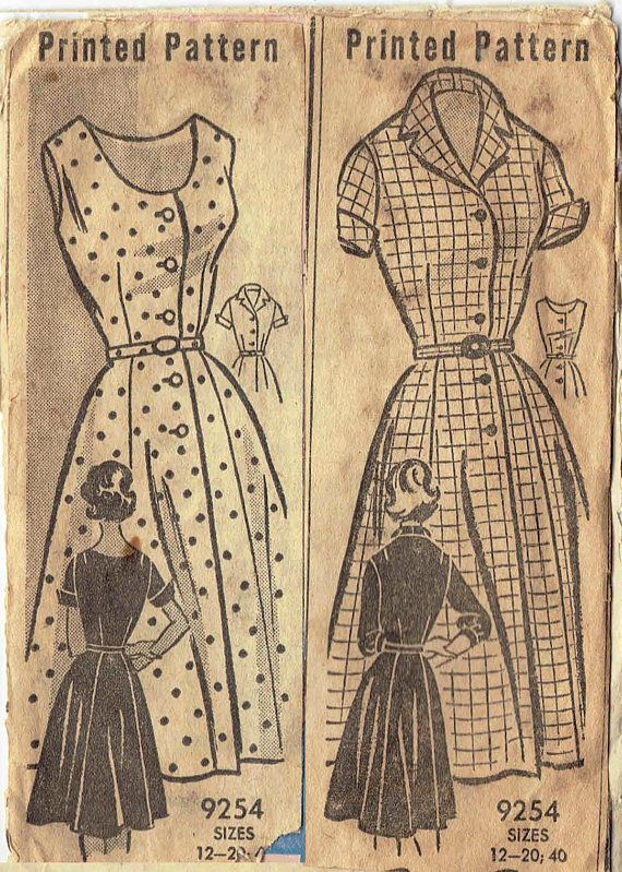 1950s Marian Martin Dress Pattern 9254. Shirtwaist Dress Mail Order Pattern Size 14 Bust 34  Simple, carefree, relaxed! The shirtwaist dress is ideal for all the busy days of 1960!  Size 14  Bust 34  Waist 26  Hips 36  Printed pattern is complete with instructions. There is some foxing