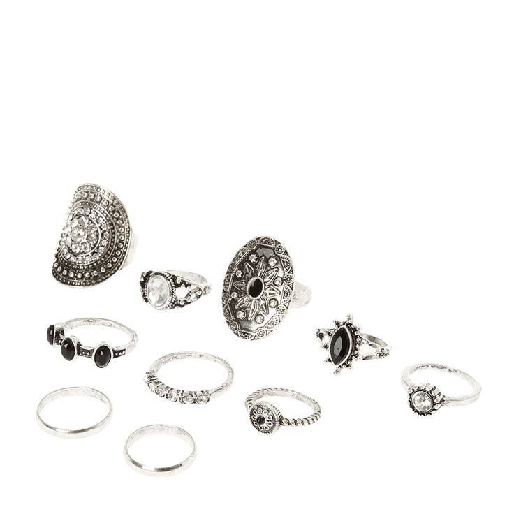 <P>Stack these rings any way you like. They'll add a trendy and fun vibe to your look. Includes multilple rings in antique silver with navy stones and island inspired designs.</P> - <UL> - <LI>Silver tone finish  - <LI>Set of 10  - <LI>Island design  - <LI>Multi-size</LI></UL>