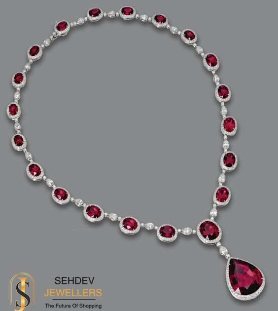 This #ruby #gemstone #studded #diamond #necklace is perfect to show your #style .