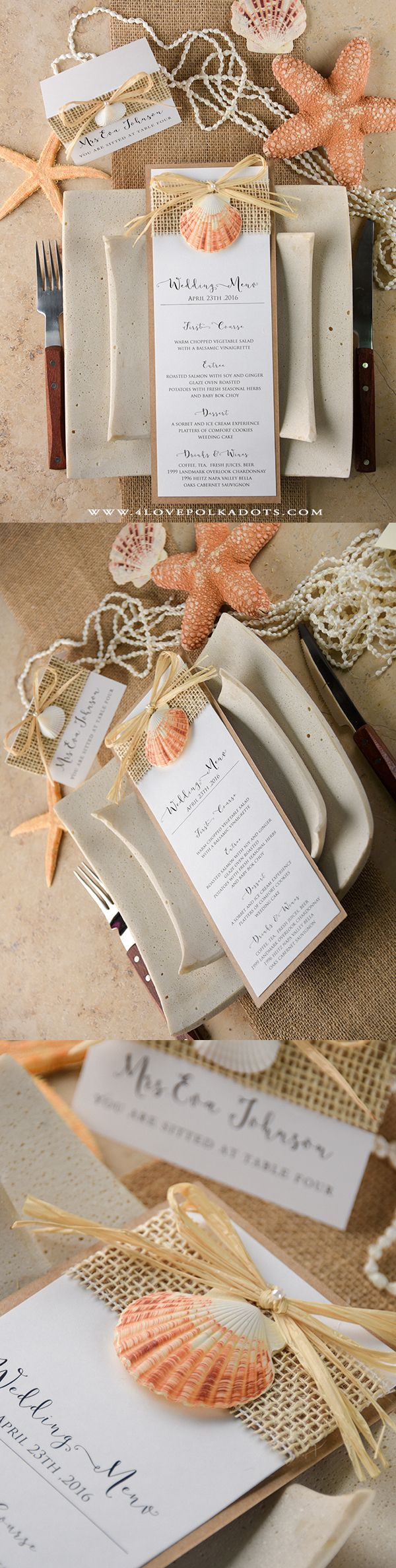 Beach Wedding Menu Card #beachwedding #seashell #handmade #destinationwedding