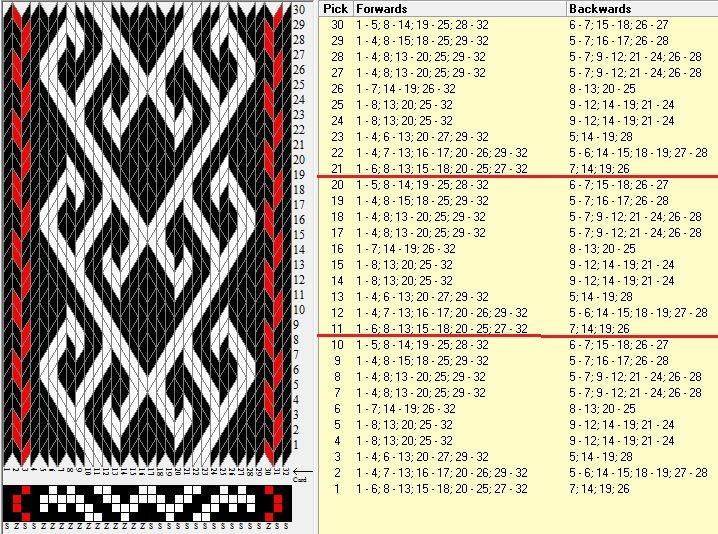 32 tarjetas, 3 colores, repite cada 10 movimientos // sed_1063 diseñado en GTT༺❁