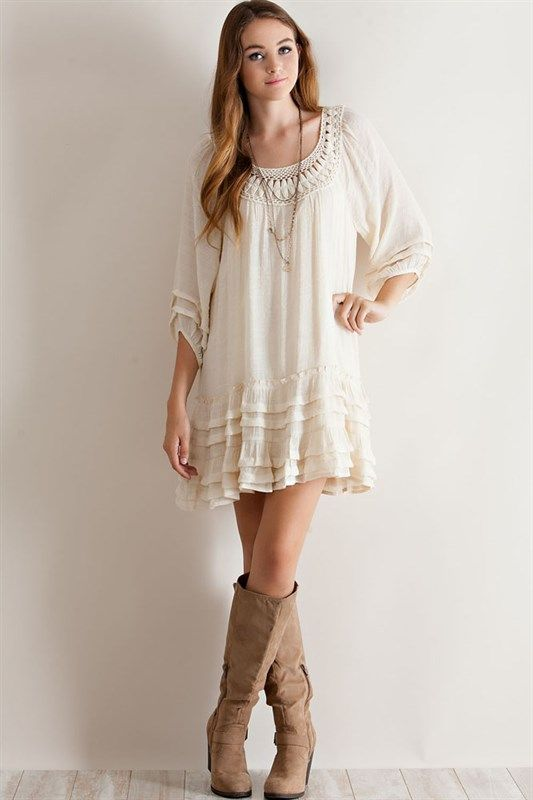 ITEM DUE 10/10  Pre- OrderTrendy and Chic to say the least of our pretty boho romantic Tunic/ dress. Flowy and comfort loving features. Ruffle layer details, 3/4 sleeve elastic. Roomy, size large will easily fit size XL .