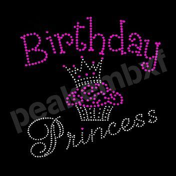 New Design Birthday Princess Hot Fix Rhinestone Transfers Fetures Cupcake and Crown