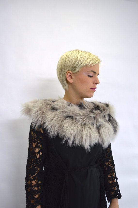 Real fox collar fox collar Platinum/grey fox fur collar. by BeFur