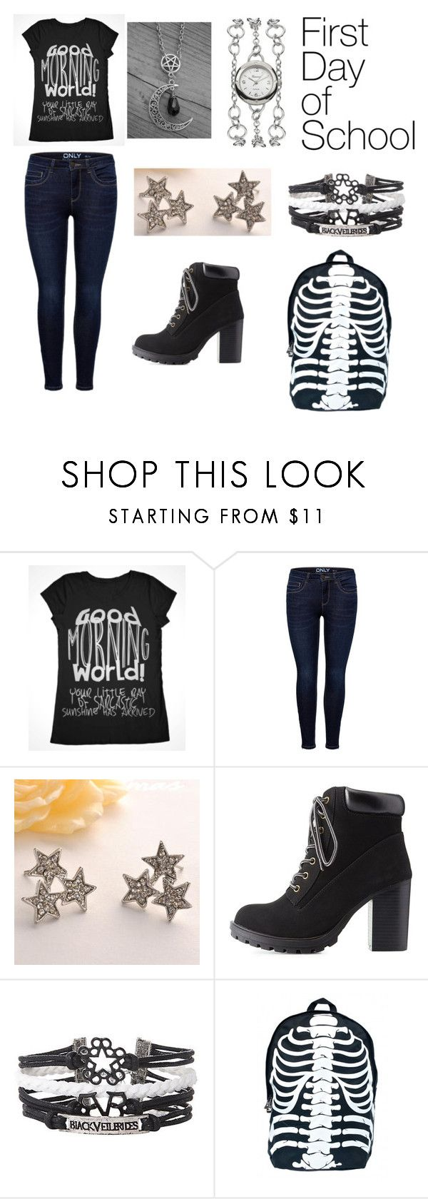 """""""Untitled #109"""" by ziadvil on Polyvore featuring Fit-to-Kill, Charlotte Russe, Hot Topic, Geneva and BackToSchool"""