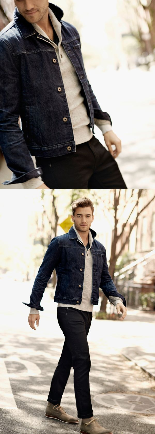 Keep Your Look Casual Yet Polished In Our Classic Dark Denim Jacket Pair This Jean Jacket Over A Lightwe Denim Jacket Men Outfit Denim Jacket Men Mens Outfits [ 1680 x 600 Pixel ]
