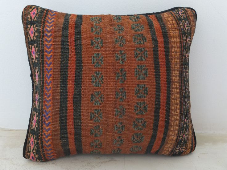 Oriental Persian Handmade Kilim Pillow Cover - Afghan Ethnic Pink, Blue Brown Accent - 16' x 13' Inch (40x33 cm) - #kilim #pillow #etsy. See on Etsy: https://www.etsy.com/listing/197699752/oriental-persian-handmade-kilim-pillow?ref=shop_home_active_5