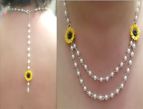 Sunflower Necklace, Backdrop Necklace, Sunflower Jewelry, Gifts Yellow Sunflower Bridesmaid, Flower and Pearls Necklace, Bridesmaid Necklace
