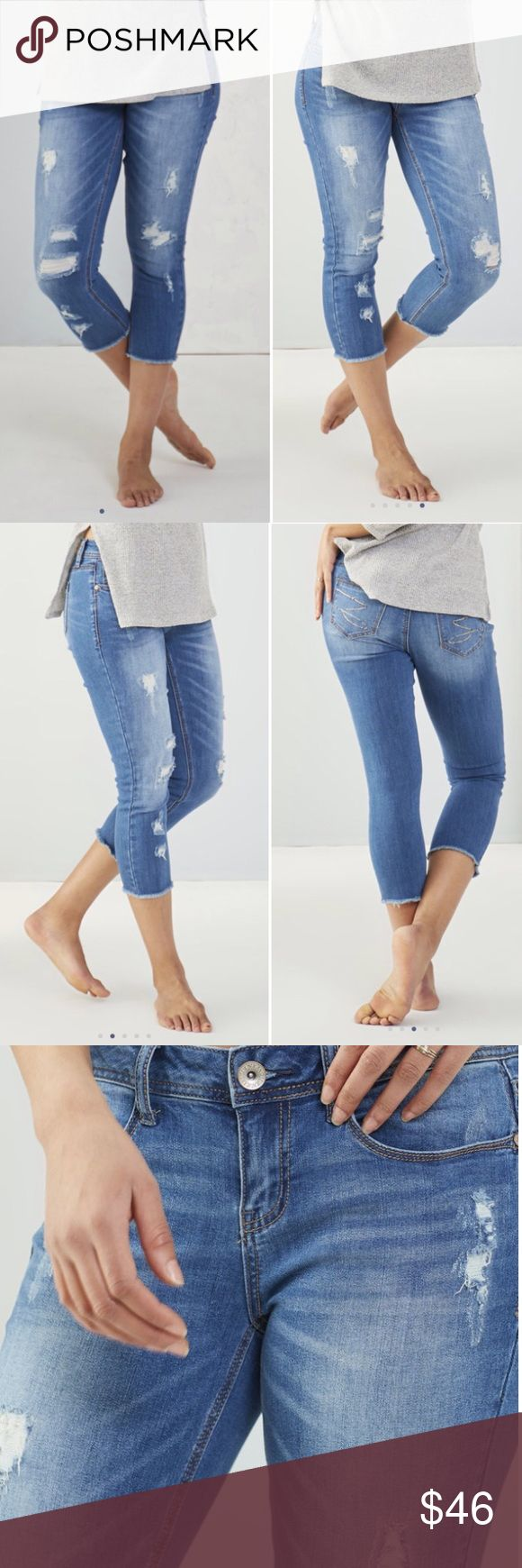 """Hawthorn Rip & Repair Crop Jeans Brand new with tag. The cropped style of these jeans allow your footwear to be the star of your ensemble. Pair with your favorite booties or sandals for a chic warm-weather style. 98% cotton and 2% spandex. Slim straight. Measurement laying flat: for size 12 - waist: 18"""" inseam: 23"""" length: 33"""". For size 14 - waist: 19"""" inseam: 23"""" length: 33"""" Seven7 Pants Capris"""