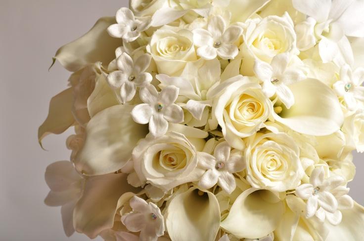 Stephanotis with Rhinestones, All White roses, Mini Call Lilies