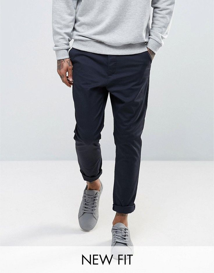 ASOS Tapered Chinos in Navy - Navy