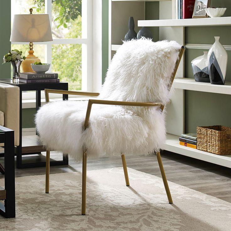 Lena White Sheepskin Chair On Rose Gold Frame By Tov