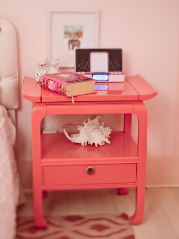 Girly Retro Inspired Pink Bedroom Side Tables Blush