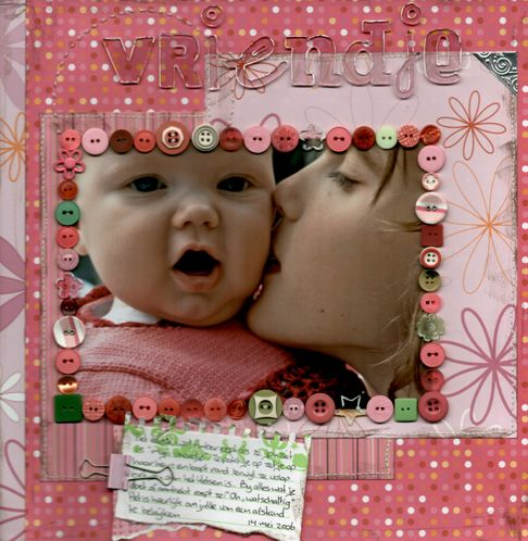 Sweet Girl's Page...with button frame.