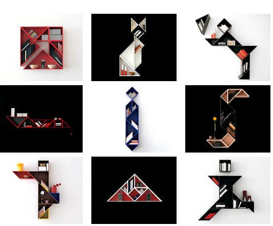 "Tangram Shelves by Daniele Lago: ""A square in seven pieces combined with imagination to make new shapes come to life."" http://www.lago.it/"