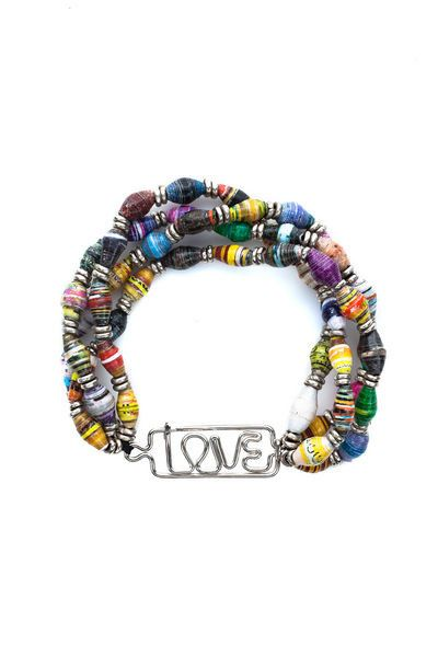 Recycled Paper Multi-Strand Bracelet - Love at www.theecotopia.com