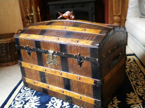 Old Victorian Dome Steamer Travel Trunk Vintage Storage
