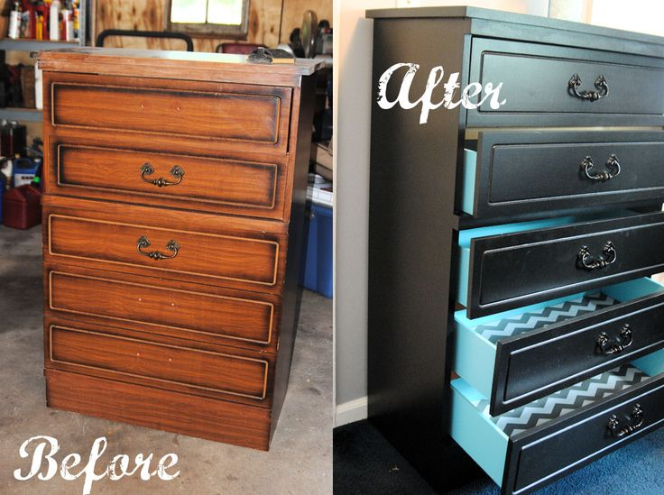 DIY Dresser Makeover - love the teal drawer insides and gray chevron drawer liner!