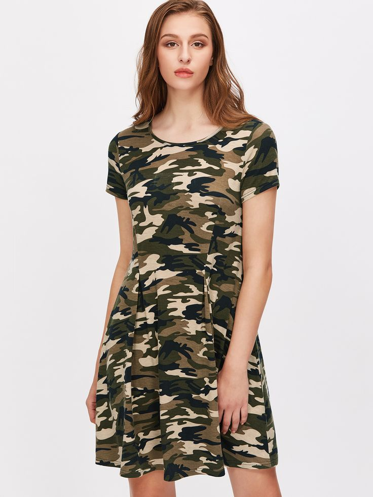 Shop Olive Green Camo Print Pleated Front Tee Dress online. SheIn offers Olive Green Camo Print Pleated Front Tee Dress & more to fit your fashionable needs.