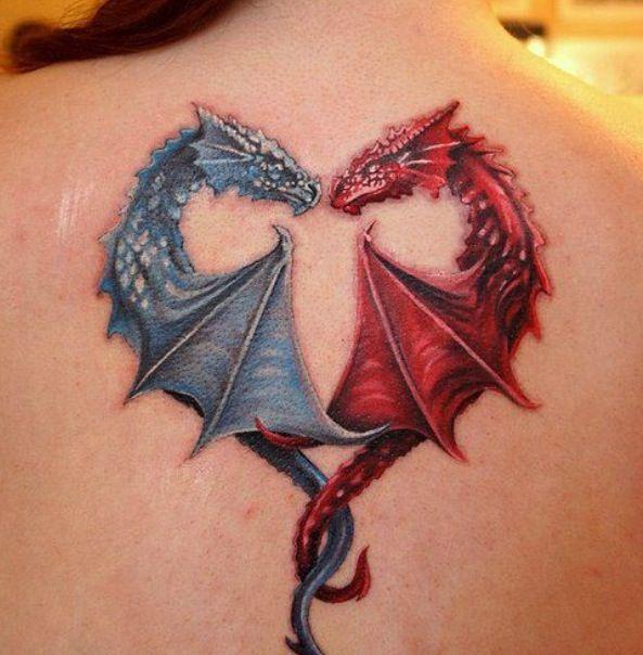 Tattoo cute dragons in a heart