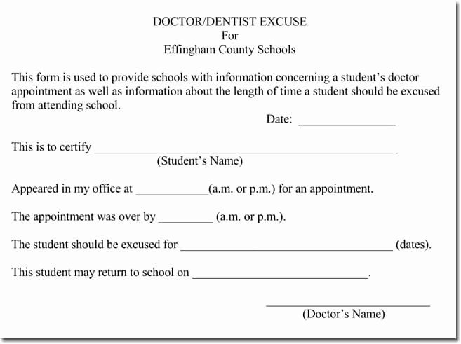 Dental Excuse Letter For Work Inspirational Doctor S Note Templates 28 Blank Formats To Create Doctors Note Template Doctors Note Notes Template