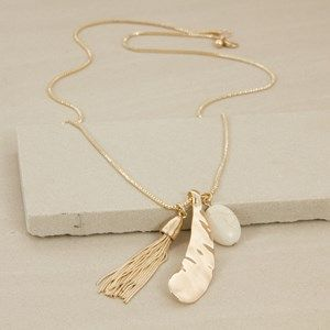 Metal Paddle Tassel & Stone Box Chain Necklace