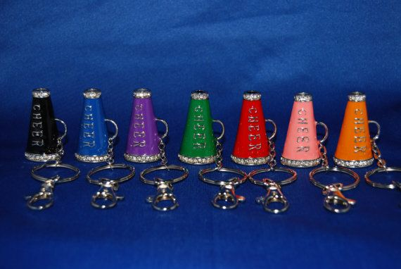 Colored Cheerleading Megaphone Keychains with Rhinestone Accents and Lobster Clasp on Etsy, $5.99