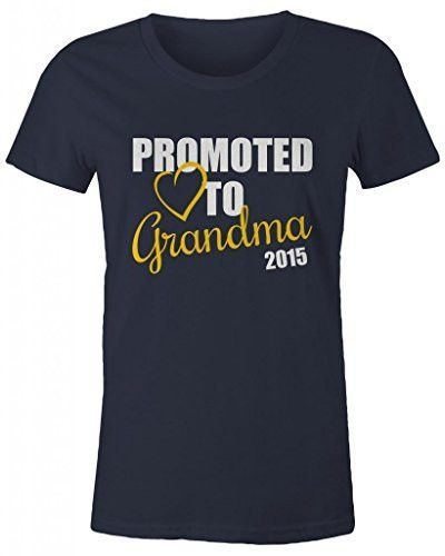 Shirts By Sarah Women's Promoted To Grandma 2015 T-Shirt New Grandparents Baby Reveal