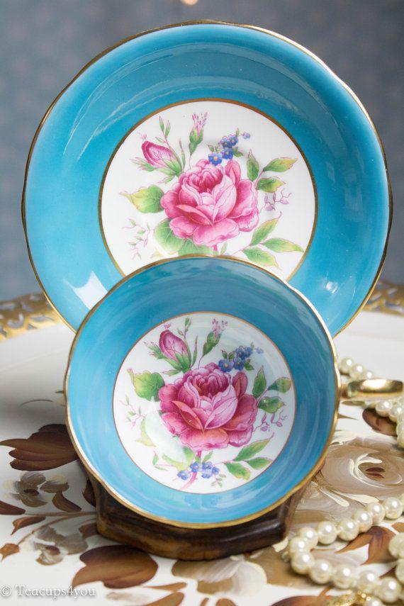 Schöne Aynsley Rose Tasse und Untertasse-Vintage von Teacups4you