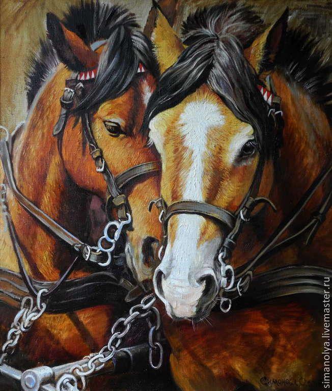 Купить Пара.В одной упряжке - коричневый, лошади, супруги, любовь, нежность, упряжка лошадей