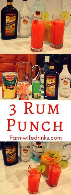 3 rum punch is the sweet combination of pineapple, lime and orange juices with dark, white, and coconut rums with just a hint of grenadine for a sweet finish. Seriously, this rum punch will be a a great drink recipe to make for a crowd. #rum #Cocktails #RumPunch #MalibuRum #rumdrinks #cocktailrecipes