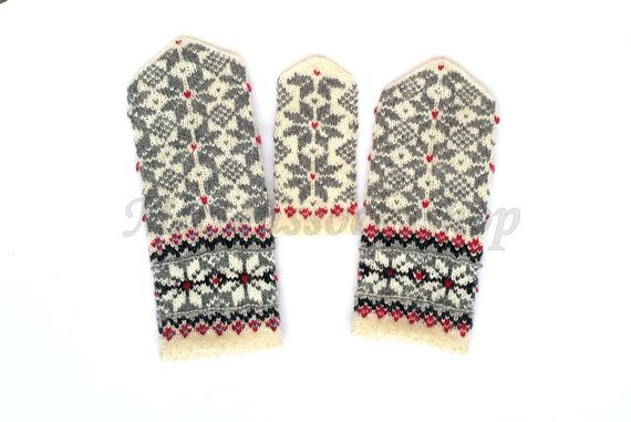 White Gray Black Hand Knitted Mittens Wool Mittens Wool Gloves