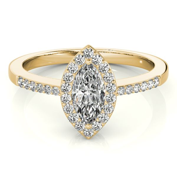 18K YELLOW GOLD VINTAGE MARQUISE HALO DIAMOND ENGAGEMENT RING (0.25 ctw)