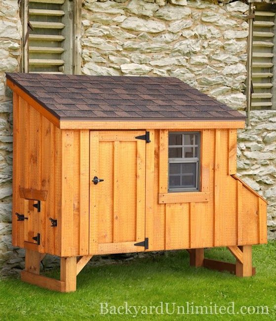 3'x6' Lean-to Style Chicken Coop with Board and Batten Siding--includes 3 nesting boxes and holds 7-9 chickens http://www.backyardunlimited.com/chicken-coops.php