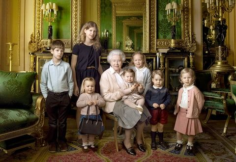 The Queen with her five great-grandchildren and her two youngest grandchildren that was taken in the Green Drawing Room, part of the Castle's semi-State apartments.