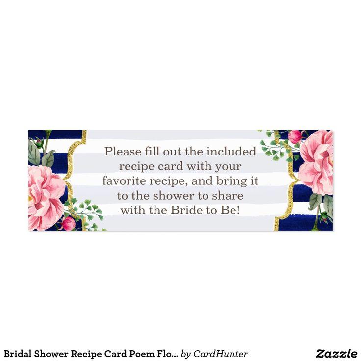 Wedding Shower Poems For Gift Cards : ... bridal shower recipe card poem bridal shower recipes bridal shower