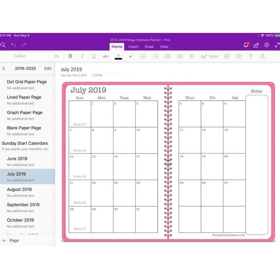 2019 2020 Mega Planner For Microsoft Onenote Pink Academic Year Monthly Weekly Planner En 2020