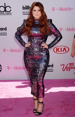 Meghan Trainor killed it in this sparkly body-con dress by Michael Costello. It hugged her every curve perfectly and totally hit the mark for the 2016 Billboard Music Awards Vegas event.