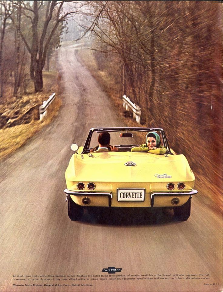 1965 Chevrolet Corvette Sting Ray Convertible - a perfect pic - cruisin' in a top down vette on a country road.