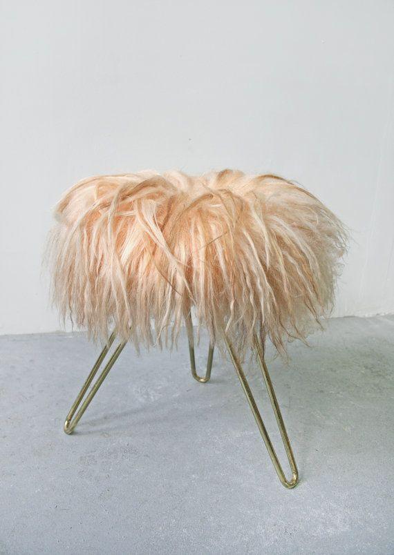 Vintage West German Metallic Tripod Peachy Pink Wig by WestEstShop