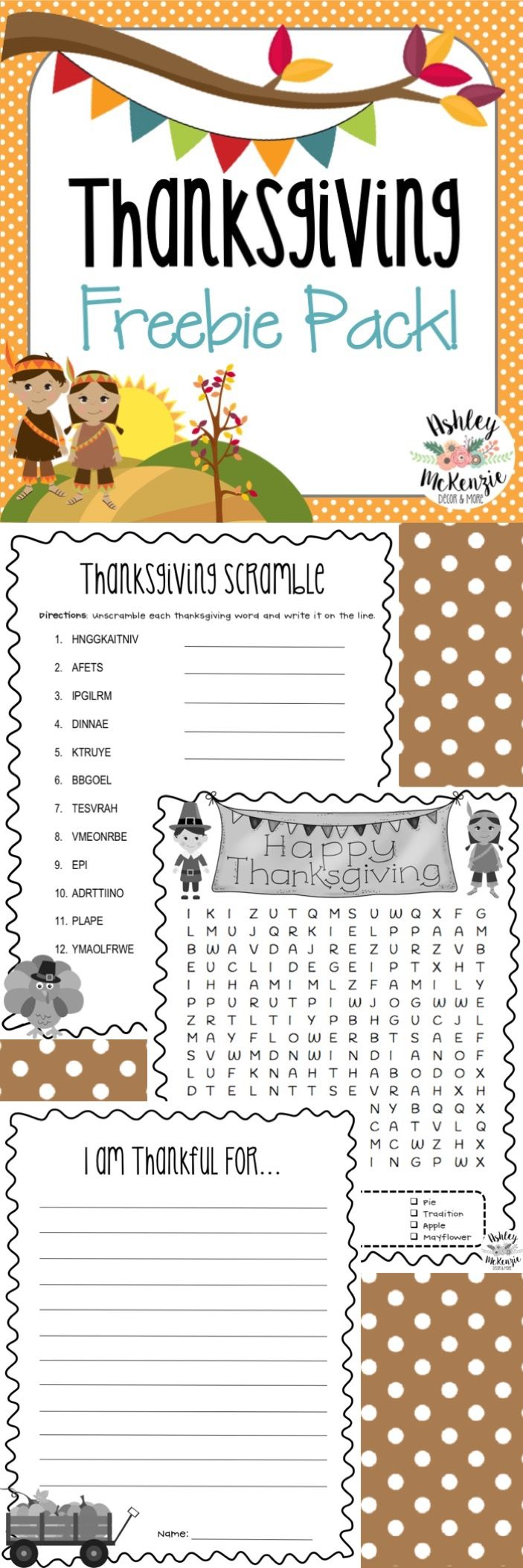 Thanksgiving Activities Freebie! Wordsearch, Word Scramble, & Writing Prompt!