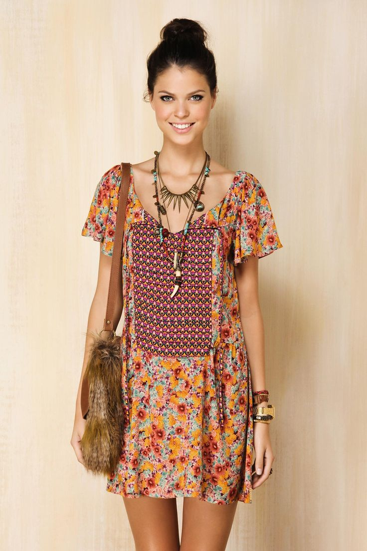 Completely besotted with this pretty little boho summer frock. Cute fur cross body too! Farm Rio.