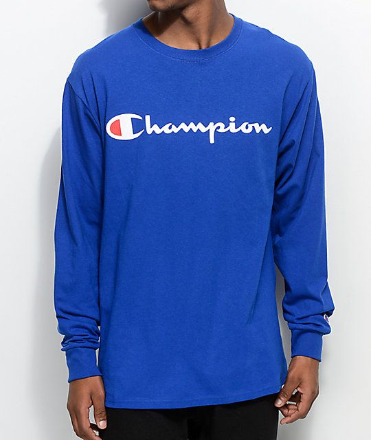 1094cba7e Champion Patriotic Script Surf The Web Blue Long Sleeve T-Shirt ...