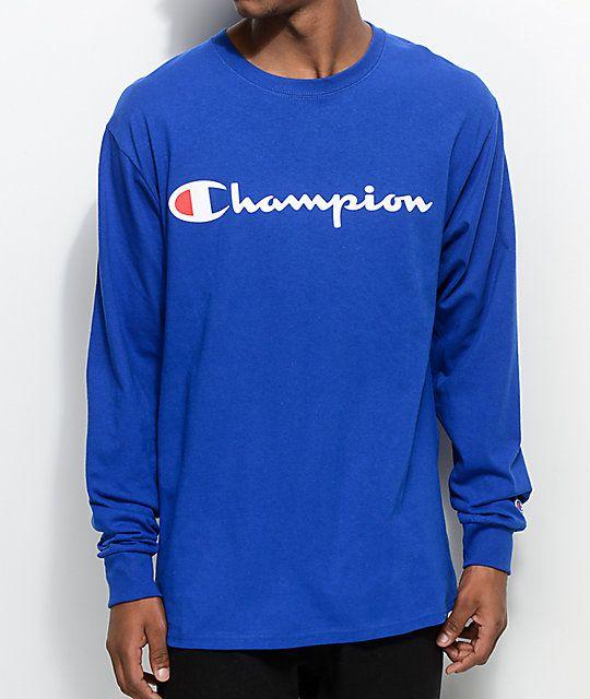 1b3d319b Champion Patriotic Script Surf The Web Blue Long Sleeve T-Shirt ...