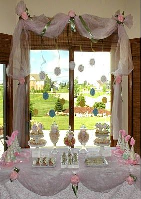 Icing Designs: Stella's Princess Tea Party - Use tulle and flowers around windows and buffet.