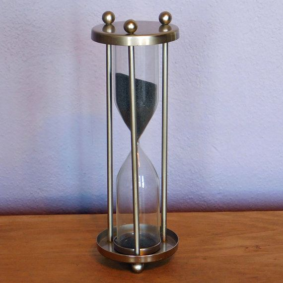 vintage tall thin brushed steel hourglass timer ten minute timer