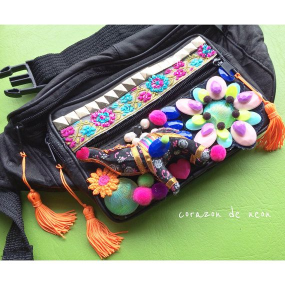 Embellished fanny pack by corazondeneon on Etsy
