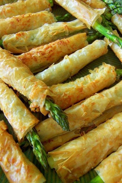 Asparagus Phyllo Appetizers - tried as a full sheet topped with asparagus.  Great when hot.  Not good re-heated.